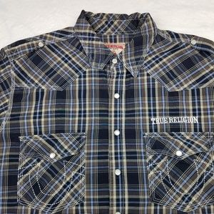 True Religion Embroidered Pearl Snap Plaid Joey